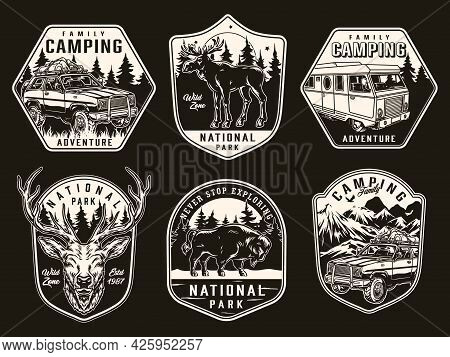 Summer Camping Vintage Monochrome Badges With Moose Bison Deer Head Motorhome And Travel Cars With T