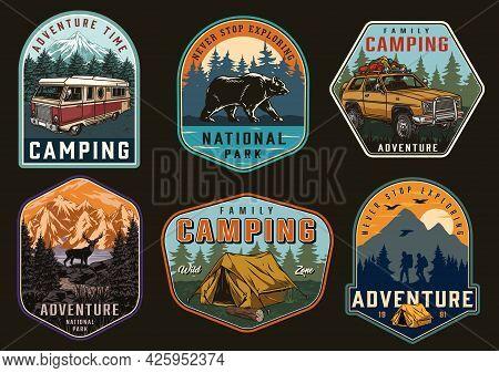 Outdoor Recreation Vintage Badges With Bear Deer Travel Car Motorhome Tent Travelers With Backpacks