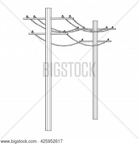 Power Transmission High Voltage Pylon. Wireframe Low Poly Mesh