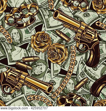 Gangster And Money Vintage Seamless Pattern With One Hundred Dollar Banknotes Gold Flowers Knuckles