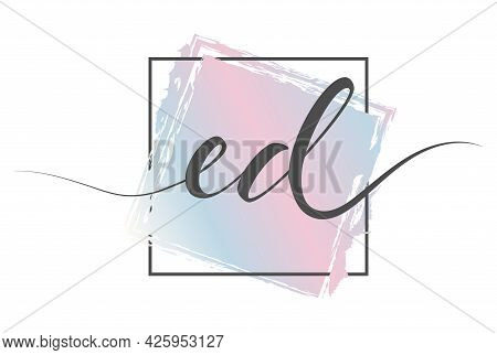 Calligraphic Lowercase Letters Ed In A Single Line On A Colored Background In A Frame. Vector Illust