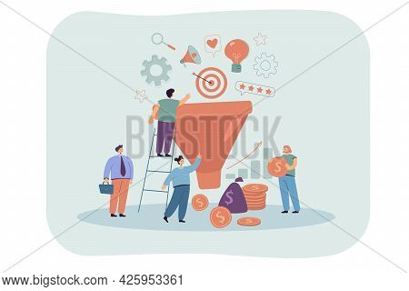 Product Marketing Funnel Flat Vector Illustration. Tiny People Putting Their Resources, Ideas, Feedb