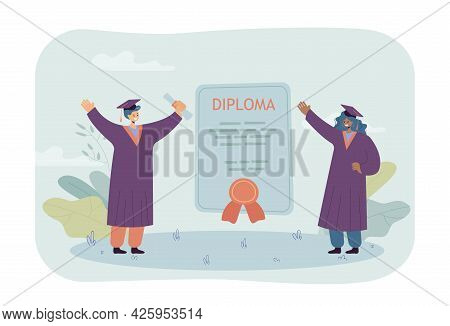 Happy Graduates With Huge Diploma. Certificate Between Standing Female Students In Graduation Caps F