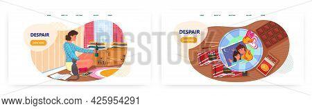 Despair Woman, Landing Page Design, Website Banner Vector Template Set. Breakup, Lost Love, Heartbre