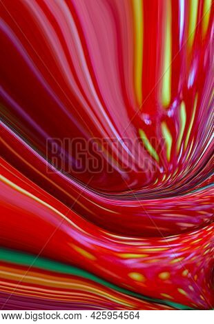 Abstract Bright Fluid Red Background With Yellow Waves. Art Trippy Digital Backdrop. Curved Shapes I