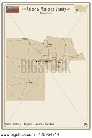 Map On An Old Playing Card Of Maricopa County In Arizona, Usa.
