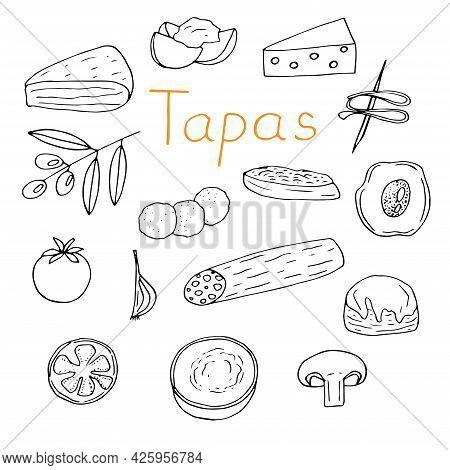 Spanish Cuisine Tapas Set Vector Illustration Doodle Hand Drawn