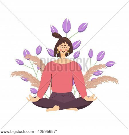 Concept Meditating Girl Against A Wheat And Flowers, Woman Relaxes And Calms Down In The Lotus Posit