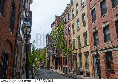 Historic Buildings On Myrtle Street Between Garden Street And Anderson Street On Beacon Hill, Boston