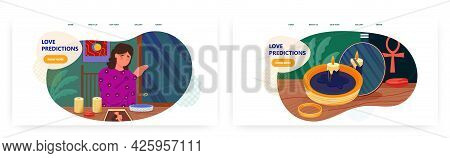 Love Predictions Landing Page Design, Website Banner Vector Template Set. Woman Predicting Marriage