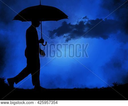 A Man Walks With His Umbrella In A Rainstorm At Night In This 3-d Illustration.