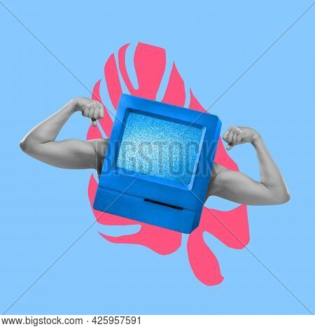 Modern Art Collage In Pop-art Style. Human Muscled Hands Isolated On Blue Neon Background With Copys