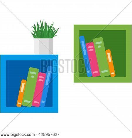 Book Shelf Vector Library Bookshelf Illustration On White