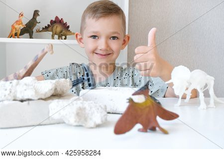 Boy Is Engaged In The Excavation Of Dinosaurs. Educational Game With Children. A Child Digs Up The B