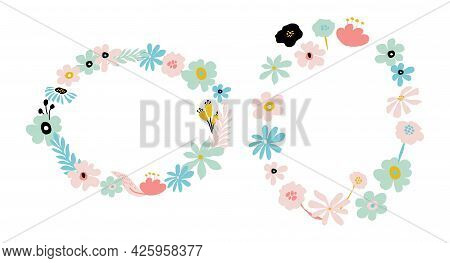 Abstract Flower Frame In Pastel Colors. Summer Simple Floral Design Wreath. Vector Illustration Isol