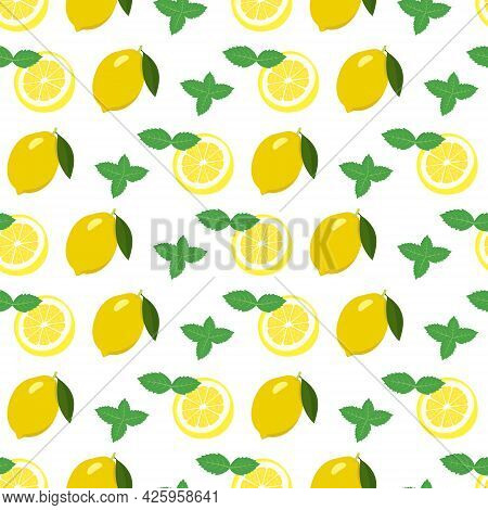 Seamless Bright Spring And Summer Pattern With Lemon And Slices And Mint Leaves. A Set Of Citrus Fru