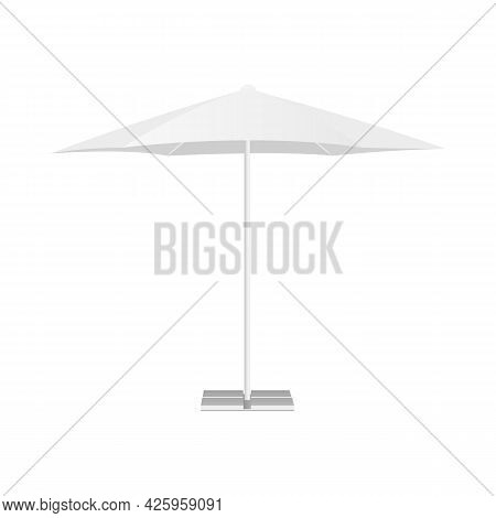 Patio Parasol Mockup Isolated On White Background, Front View. Vector Illustration