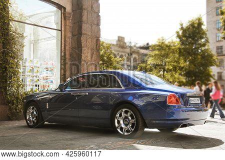 Kiev, Ukraine - May 22, 2021: Luxury Premium British Rolls Royce Ghost Car Parked In The City