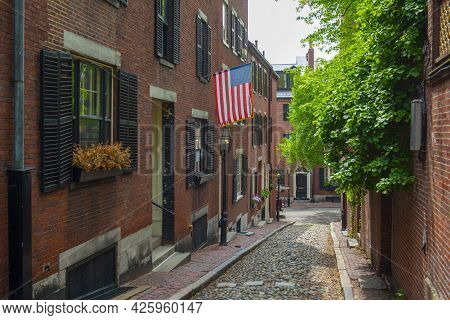 Acorn Street With Cobblestone And Historic Row Houses On Beacon Hill In Historic City Center Of Bost
