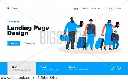 Big Group Of Tourists In Line With Baggage Flat Vector Illustration. Cartoon Happy Characters Walkin