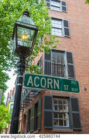 Road Sign Of Acorn Street With Cobblestone And Historic Row Houses On Beacon Hill In Historic City C