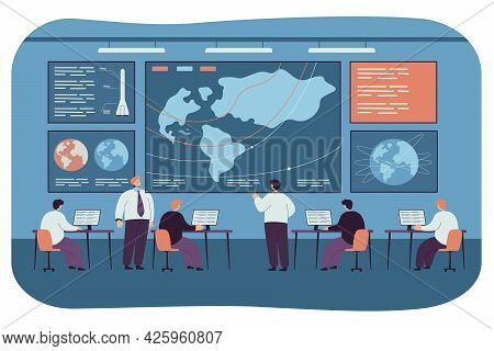 Spacecraft Command And Control Center. Flat Vector Illustration. People Launching Space Ship, Survei