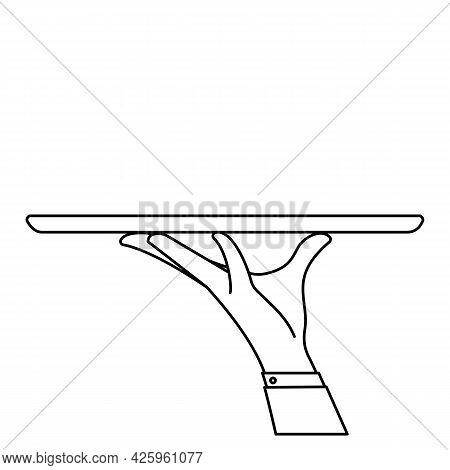 Elegant Waiter Hand Holding Empty Serving Tray For Food. Vector Flat Outline Illustration
