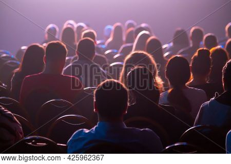Silhouettes of spectators in the auditorium, rear view