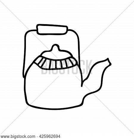 Single Hand Drawn Kettle. Doodle Vector Illustration. Isolated On A White Background. Goblincore Sty