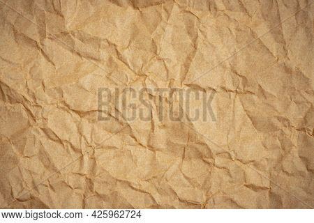 Crumpled Paper Texture Background, Brown Creased Paper.