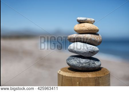 Balance And Beauty In A Pyramidal Shape Of Five Stones Placed In Balance One On Top Of The Other, Fa