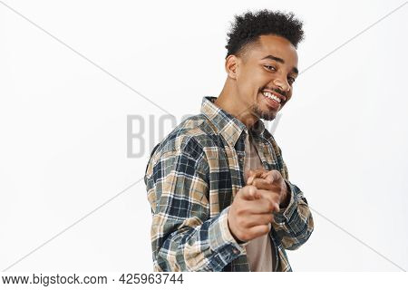 You Got This. Smiling Confident African American Man, Looking Satisfied, Praise And Compliment Perso