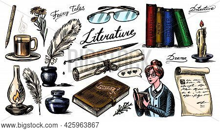Literature Set. Ink And Pen, Typewriter, Coffee And Lamp, Stack Of Books And Teacher, School Essay,