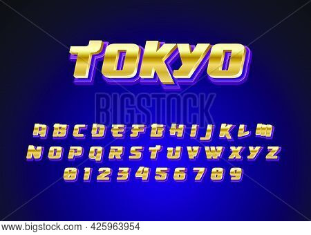Futuristic Techno Japanese Style Text Effect. Custom Font Alphabet And Number