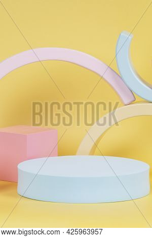 Abstract Composition With Geometric Shapes Forms On Yellow Background. Exhibition Podium, Platform F