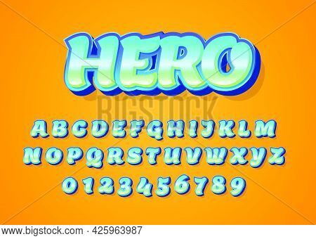 Superhero Cartoon Style Font Design. Custom Alphabet Letters And Numbers For Game Title Or Movie Pos