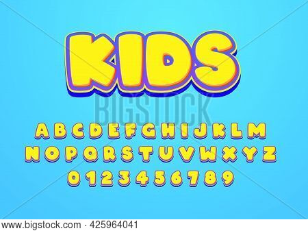 Kids Cartoon Style Font Design. Custom Alphabet Letters And Numbers For Game Title Or Movie Poster.