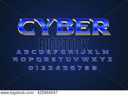 Futuristic Techno Style Text Effect. Custom Font Alphabet And Number