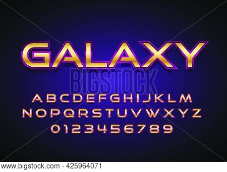 Movie Title  Poster Style Text Effect. Custom Style Alphabet And Number With Space Galaxy Theme