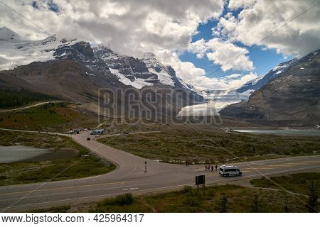 Icefields Parkway And Athabasca Glacier Canada. Athabasca Glacier In Jasper National Park Along The