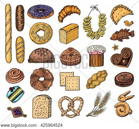 Bakery Products Set. Donuts Bagels, Cookies And And Baguette, Pie And Croissant And Easter Cake. Eng