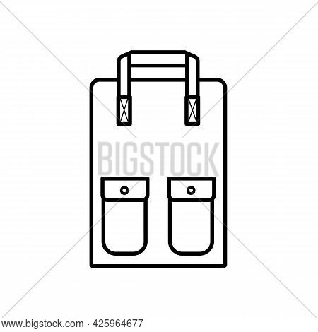 School Backpack With Two Pockets, Simple Linear Icon Isolated On White Background. Goods For School,