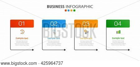 Business Infographic Template With 4 Options, Workflow, Process Chart. Can Be Used For Workflow Layo