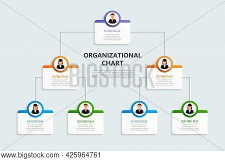 Corporate Organizational Chart With Business Avatar  Icons. Business Hierarchy Infographic Elements.