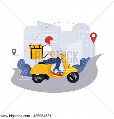Scooter With Delivery Man Flat Vector Cartoon Character. Fast Courier. Restaurant Food, Mail Deliver