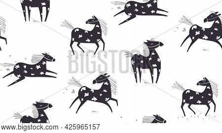 Wild Abstract Horse Seamless Pattern, Horses Running In The Field With Flowers On White, Scandinavia