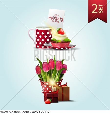 Set Of Icons For Mother's Day, Cup Of Tea With Cupcake, Bucket With Tulips And Gift
