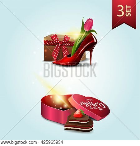 Set Of Icons For Mother's Day, Women's Shoe With Tulips Inside, Gift In The Shape Of A Heart And Can