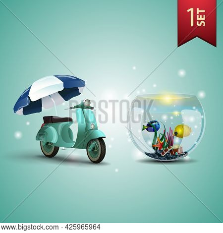 Set Of 3D Volumetric Summer Icons For Your Arts, Scooter With A Beach Umbrella And Round Aquarium Wi