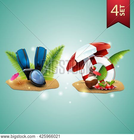 Set Of 3D Volumetric Summer Icons For Your Arts, Diving Mask, Fins, Palm Leaves, Coconut Ice Cream C